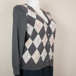 Lands' End Sweaters - Lands End Cardigan Gray Argyle Tan Cream V-Neck